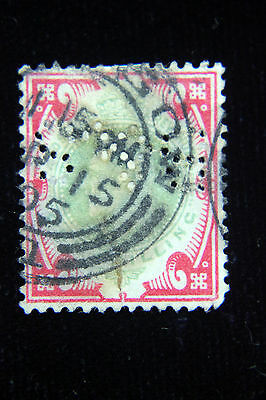 Great Britain Postal  Postage Perfin Stamp #138 1s 1902   B S    GREAp138