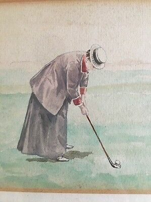 Pair Exquisite Hickory Golf Era Watercolour Paintings Signed BRUSH