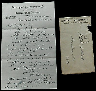 1878 Letterhead & Envelope SOVEREIGNS COOPERATIVE Groceries KEENE New Hampshire