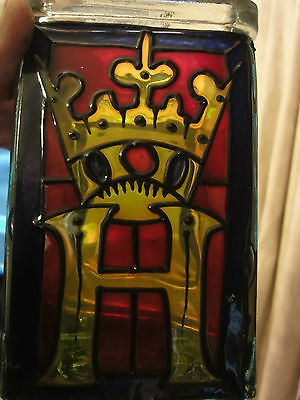 Square Shaped glass vase depicting KING HENRY very unusual