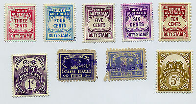 South Australia duty stamps; cattle stamp 3d and 1/-; NT duty