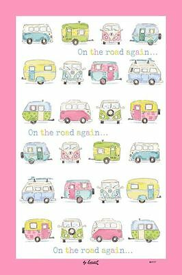 On The Road Again Tea Towel - Volkswagen campervans, touring caravans
