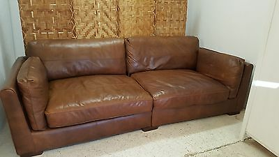 Large Four Seater 'shalimar' Tan Brown Leather Sofa Settee *courier Available*