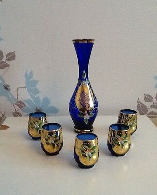 Vintage Murano Azure And Gold Bottle Set With 5 Glasses