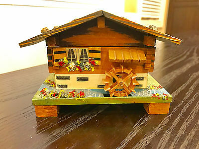 Vintage Edelweiss Wood Music Box carved Swiss Chalet House