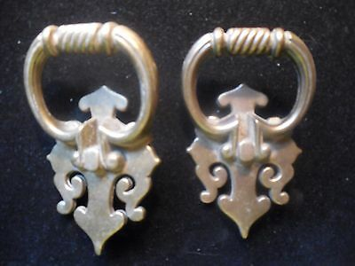 Pair Of Antique Finish Heavy Brass Furniture Hardware Drawer Pulls Made In Usa