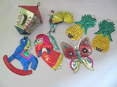 Vtg Lot Of 7 Mexican Folk Art Punched Tin Xmas Ornaments,3D Bird,butterfly,angel