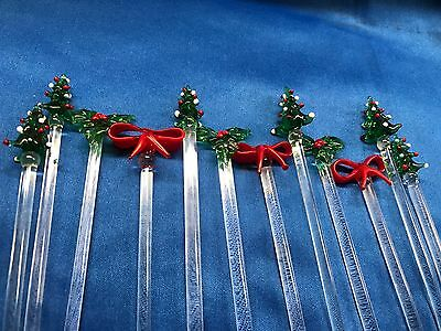 """12 Vintage 7 1/2"""" Art Glass Cocktail Swizzle Sticks Christmas Tree Holly Bows"""
