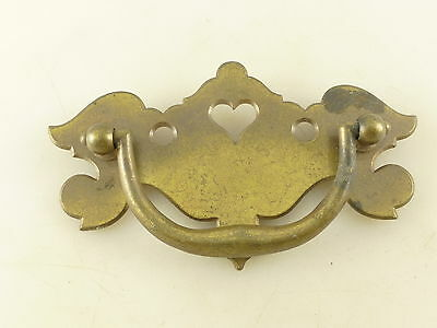 Vintage Brass Tone Metal Drawer Pull with Back Plate Heart Architectural Salvage