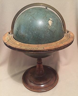 """ANTIQUE Wooden Litho ZODIAC GLOBE Star Chart ASTROLOGY Spinning EARTH 22"""" LARGE"""
