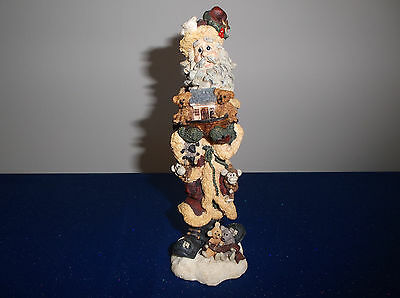 "1996 Boyds Bears Folkstones Nicknoah Santa Figurine - 7"" Tall - Excellent Cond"