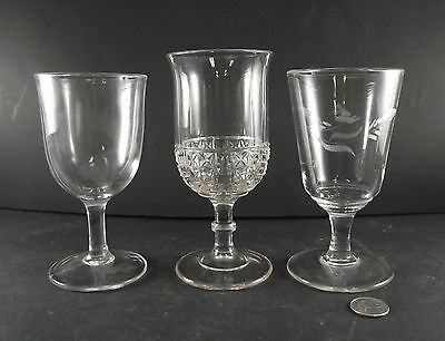 3 Antique Goblets Etched Fern  Plain And Diamond Like Pattern ?