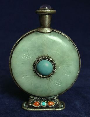 Antique Chinese Circular Green Jade Snuff Bottle w/ Silver Turquoise Coral & Am
