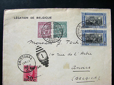 Colombia 1931 Air mail via Canal Zone to Belgium