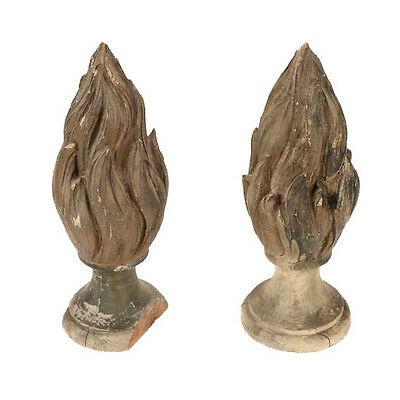 Antique Carved Wooden Flame Finials