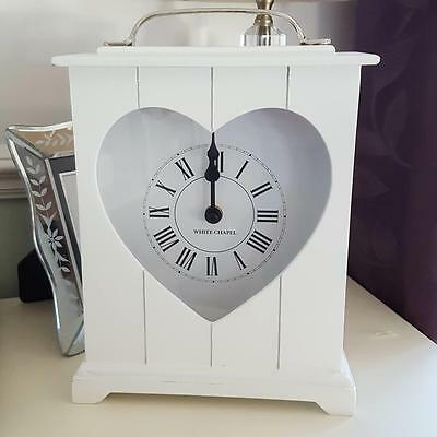White Heart Wooden Free Standing Chic N Shabby Mantle Clock
