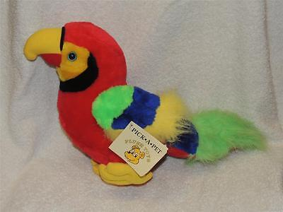 Beautiful Plush Stuffed Parrot with TAG Tropical Bird Scarlet red Macaw