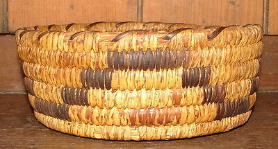 Antique Papago Native American Indian Hand Wovan Coiled Round Basket