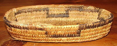 Antique Western Native American Indian Hand Wovan Coiled Oval Papago Basket