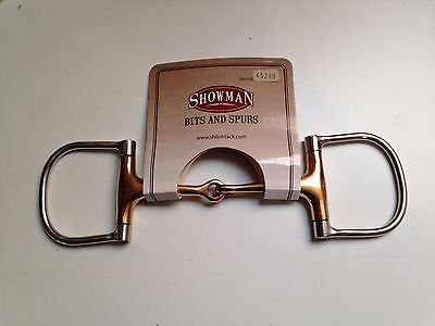 """5"""" Stainless Steel Copper Mouth English or Western D-Ring Dee Ring Snaffle Bit"""