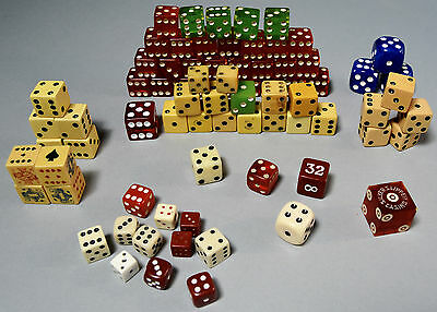 Large Lot of Vintage Dice Bakelite Lucite Different Sizes