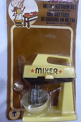 Vintage 70's Small Dolls Metal Toy Kitchen Mixer - Collector Item