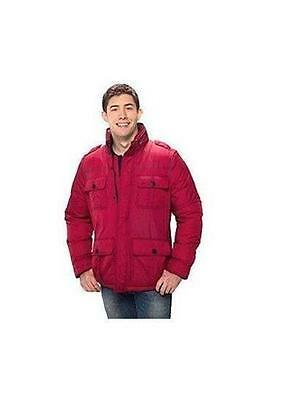 Mens Red Dockers Puffer Winter Jacket Field Jacket Size Large Nwt