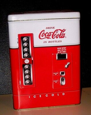 """Large Coke Machine Shaped Tin Container 8.25"""" H X 6"""" L X 3.5"""" W  Nice Condition"""