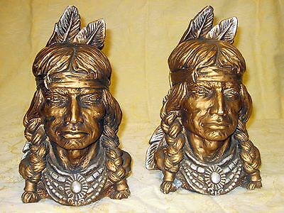 Vtg Universal Statuary Chalkware 1966 Indian Head Large Bookends Western