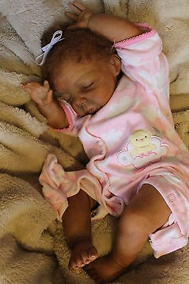 Reborn baby doll sweet ethnic 3 month old baby girl Ashanti with 3d skin OOAK