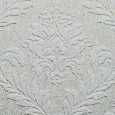 White Paintable Medium Scale Damask Wallpaper - Textured/Embossed - 10m Roll