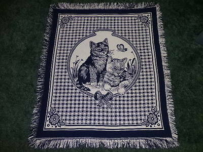 Kitty Cat Kittens Navy Blue & Off White Afghan Throw Blanket Wall Tapestry 43x50