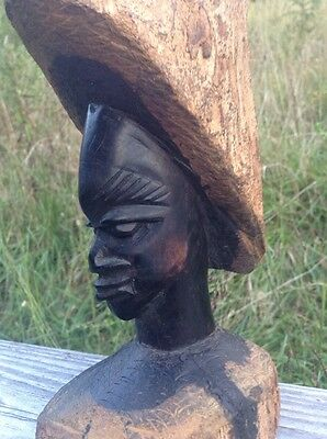 Hand Carved Wood Skinny Abstract Bust Statue 9.25 inches African Art Zimbabwe