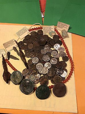 very larg lot of anichent silver coins roman and other anichent items  W F S