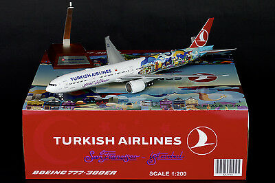 """Turkish Airlines 777-300ER """"San Francisco"""" JC Wings 1:200 Diecast Models XX2790"""