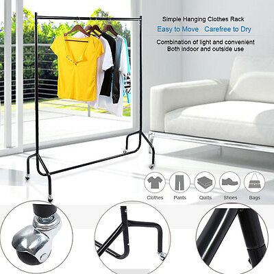 2X  Portable Metal Rack Hanger Clothes Coat Garment Dryer Display Stand Wheel AU