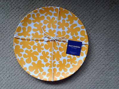 "Marimekko for Target dinner plates (4) in ""paprika"" theme, NWT!!!!"