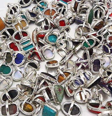1000Gram Ring Mix Gemstone Wholesale Lot New Jewelry 925 Sterling Silver Overlay