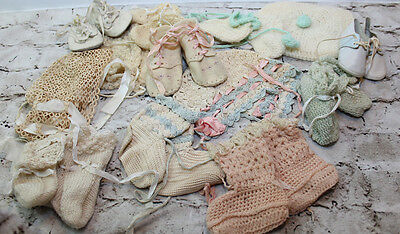 Lot of Antique Vintage Crochet Tatted Baby Or Doll Bonnets Booties, Felt Shoes.