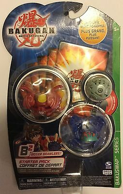 ! BAKUGAN starter pack Bakuswap B2 series 3 pack Gray Red Blue