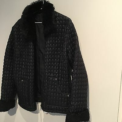 Vintage Clock House German Padded Jacket With Faux Fur Collar And Cuffs