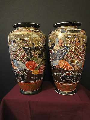 Pair of Antique Japanese Signed Satsuma Moriage vases