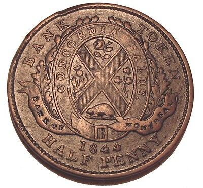 Old Canadian Coins 1844 Front View Bank Of Montreal Breton 527 Token Half Penny