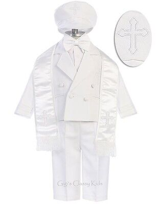 New Baby Toddler Boys White Baptism Suit Christening Outfit Cross Hat 173F