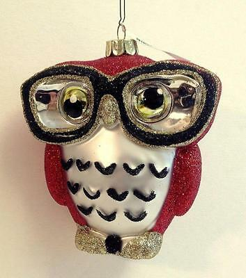Owl Lovers! Very Wise Owl With Reading Glasses Glass Christmas Ornament New