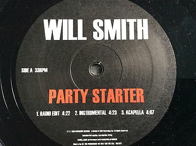 "WILL SMITH **PROMO 12"" SINGLE**PARTY STARTER x6 versions RAP / HIP HOP EXCELLENT"