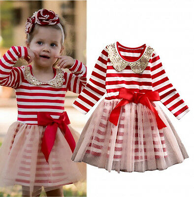 Christmas Toddler Baby Girls Princess Stripe Tulle Party Dress Clothes US Stock