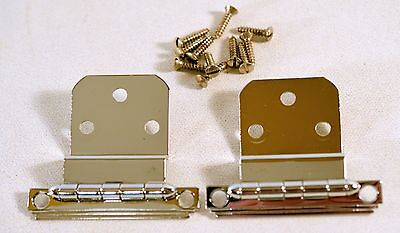 "Vintage Chrome Hinge For 3/8"" Overlapping Door Cabinet Art Deco Ligne"