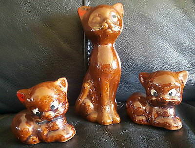 """Vintage glossy brown pottery mother cat and 2 kitten ornaments 4.25"""" and 2"""""""