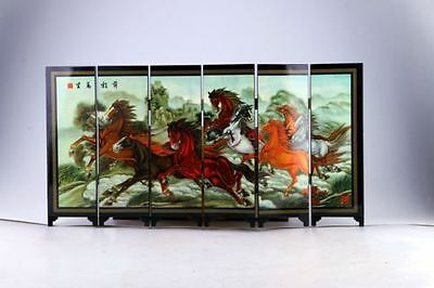 """Chinese Lacquer Handwork Painting """"前程万里 Screen Scroll NR"""
